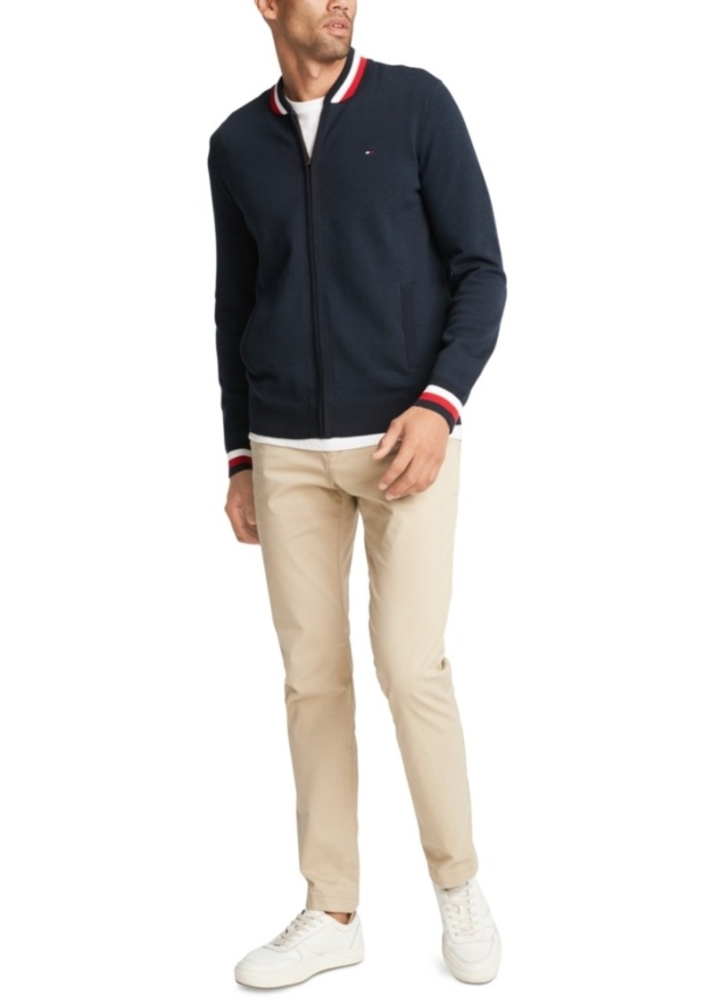 Tommy Hilfiger Men's Basic Color Tipped Full-Zip Sweater