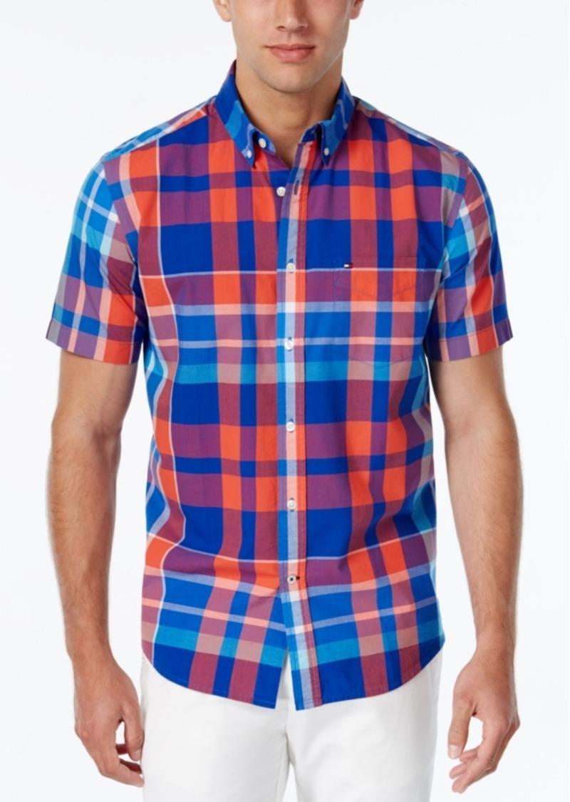 Tommy Hilfiger Men's Plaid Button-Down Short-Sleeve Shirt