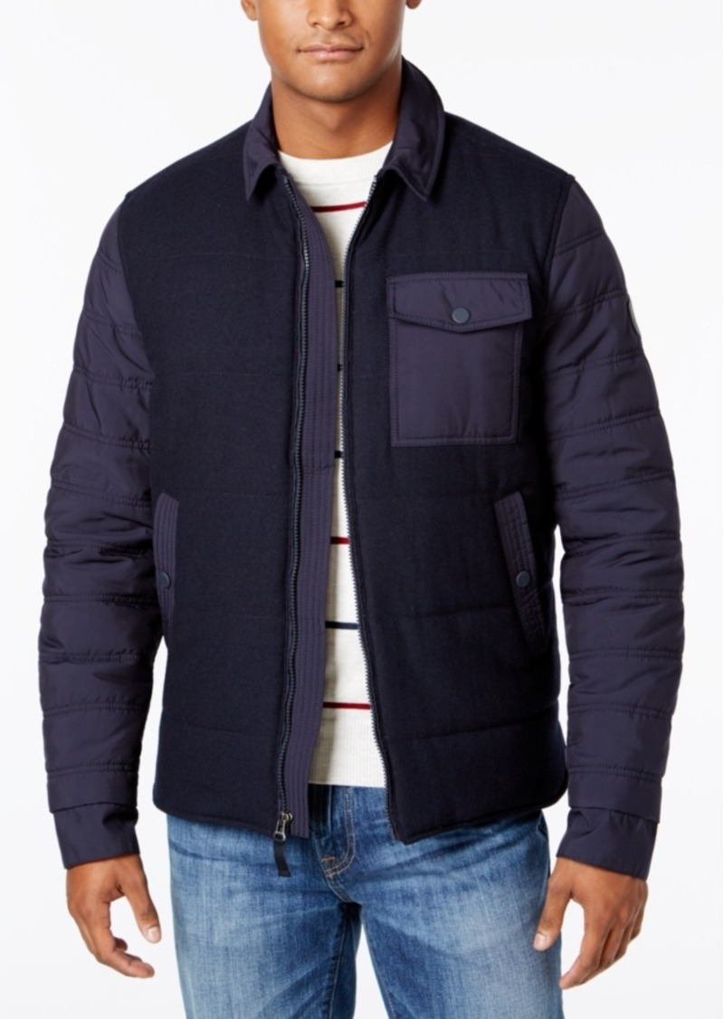 Tommy Hilfiger Men's Mixed-Media Colorblocked Bomber Jacket