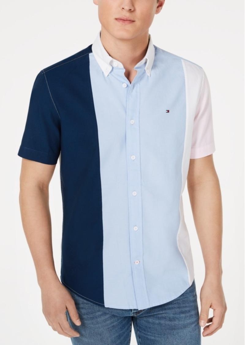 Tommy Hilfiger Men's Tobias Custom-Fit Pieced Colorblocked Shirt