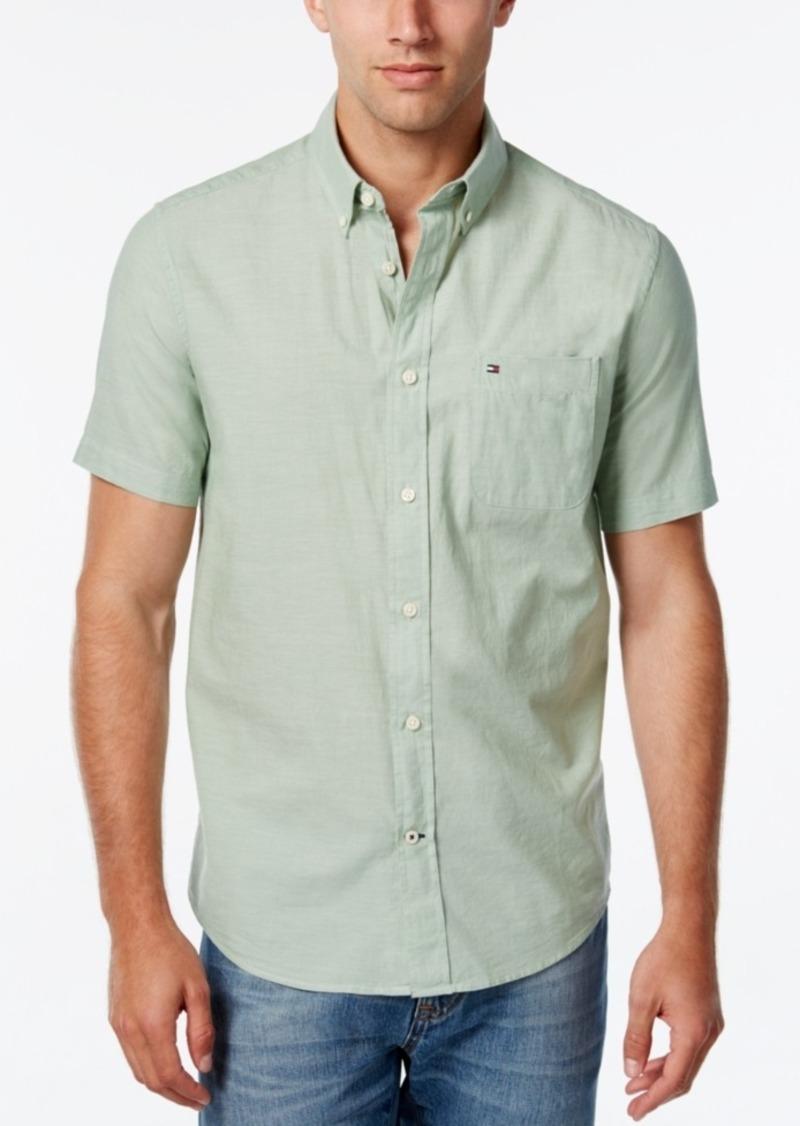 Tommy Hilfiger Men's Big & Tall Wainwright Short-Sleeve Linen Shirt