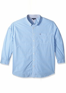 Tommy Hilfiger Men's Big and Tall Long Sleeve Shirt Twain collection blue