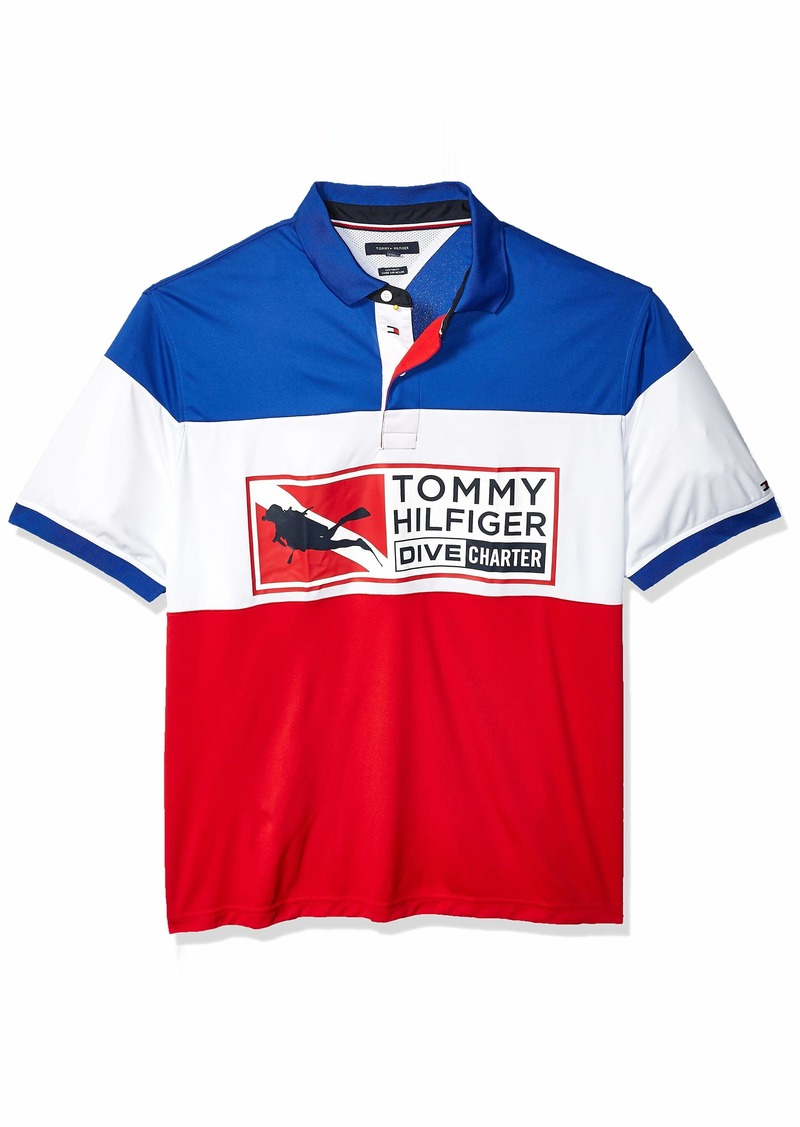Tommy Hilfiger Men's Big and Tall Polo Shirt Custom Fit Surf The Web/Multi 3XL