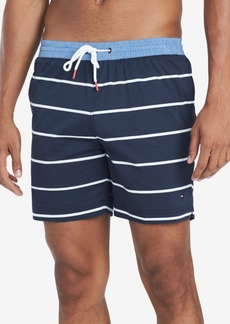 "Tommy Hilfiger Men's Biscayne Stripe 6.5"" Swim Trunks, Created for Macy's"
