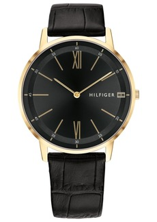 Tommy Hilfiger Men's Black Leather Strap Watch 40mm Created for Macy's