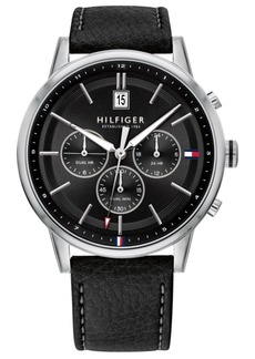 Tommy Hilfiger Men's Black Leather Strap Watch 43mm, Created For Macy's
