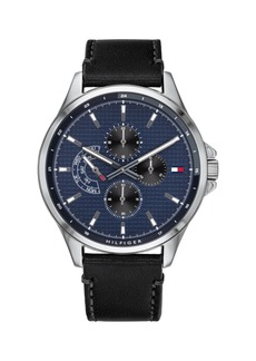 Tommy Hilfiger Mens Black Leather Strap Watch 44mm, Created for Macys