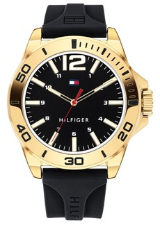 Tommy Hilfiger Men's Black Silicone Strap Watch 44mm