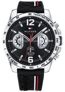 Tommy Hilfiger Men's Black Silicone Strap Watch 46mm, Created for Macy's