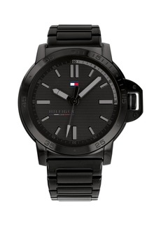 Tommy Hilfiger Mens Black Stainless Steel Bracelet Watch 44mm, Created for Macys