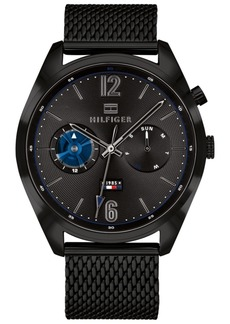 Tommy Hilfiger Men's Black Stainless Steel Mesh Bracelet Watch 44mm, Created for Macy's