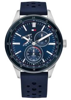 Tommy Hilfiger Men's Blue Leather Strap Watch 45mm, Created For Macy's