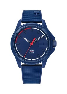 Tommy Hilfiger Mens Blue Silicone Strap Watch 42mm, Created for Macys