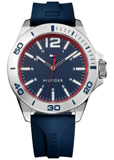 Tommy Hilfiger Men's Blue Silicone Strap Watch 45mm, Created for Macy's