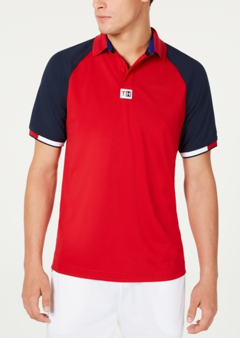 Tommy Hilfiger Men's Bluth Custom-Fit Moisture-Wicking Colorblocked Polo Shirt