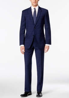 Tommy Hilfiger Men's Bright Blue Plaid Stretch Performance Modern-Fit Suit