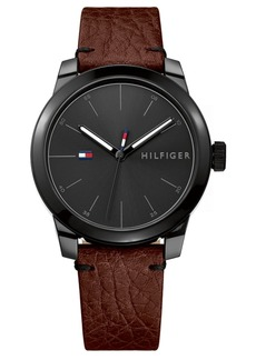 Tommy Hilfiger Men's Brown Leather Strap Watch 42mm, Created for Macy's