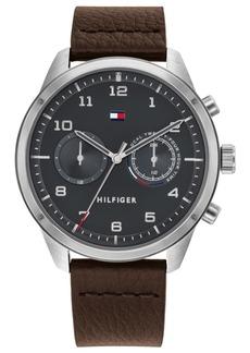 Tommy Hilfiger Men's Brown Leather Strap Watch 44mm
