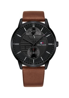 Tommy Hilfiger Mens Brown Leather Strap Watch 44mm, Created for Macys