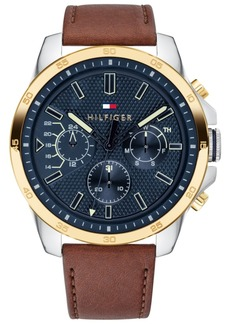 Tommy Hilfiger Men's Brown Leather Strap Watch 46mm, Created for Macy's