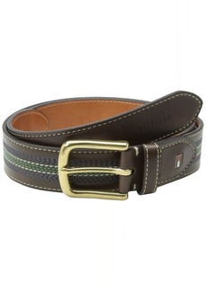 Tommy Hilfiger Men's Tommy Hilfiger Casual Belt With Center Stripe Stitch Detail.