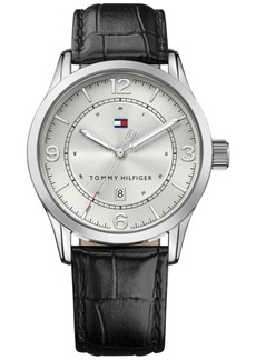 Tommy Hilfiger Men's Casual Sport Black Leather Strap Watch 42mm, Created for Macy's