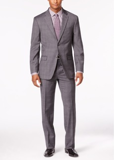Tommy Hilfiger Men's Charcoal Tonal Plaid Stretch Performance Modern-Fit Suit