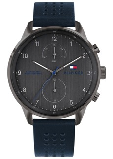 Tommy Hilfiger Men's Navy Leather Strap Watch 44mm Created For Macy's