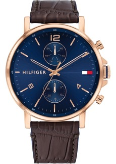 Tommy Hilfiger Men's Chronograph Brown Leather Strap Watch 44mm