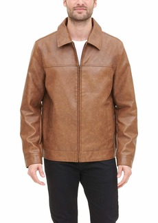 Tommy Hilfiger Men's Classic Faux Leather Laydown Collar Jacket