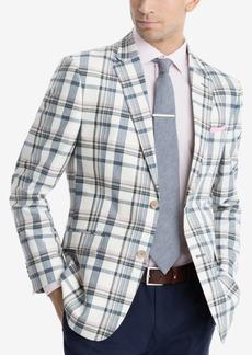 Tommy Hilfiger Men's Modern-Fit Cream/Navy Madras Plaid Sport Coat