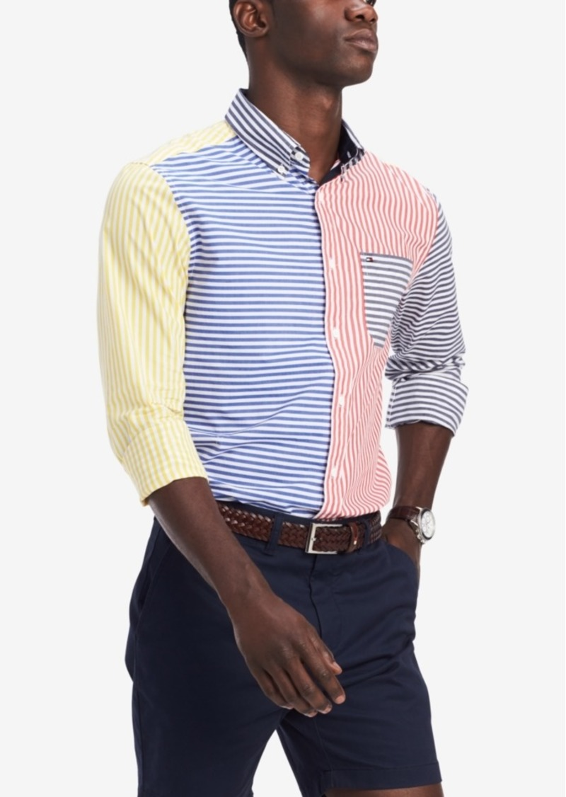 Tommy Hilfiger Men's Classic-Fit Foster Colorblocked Stripe Shirt, Created for Macy's
