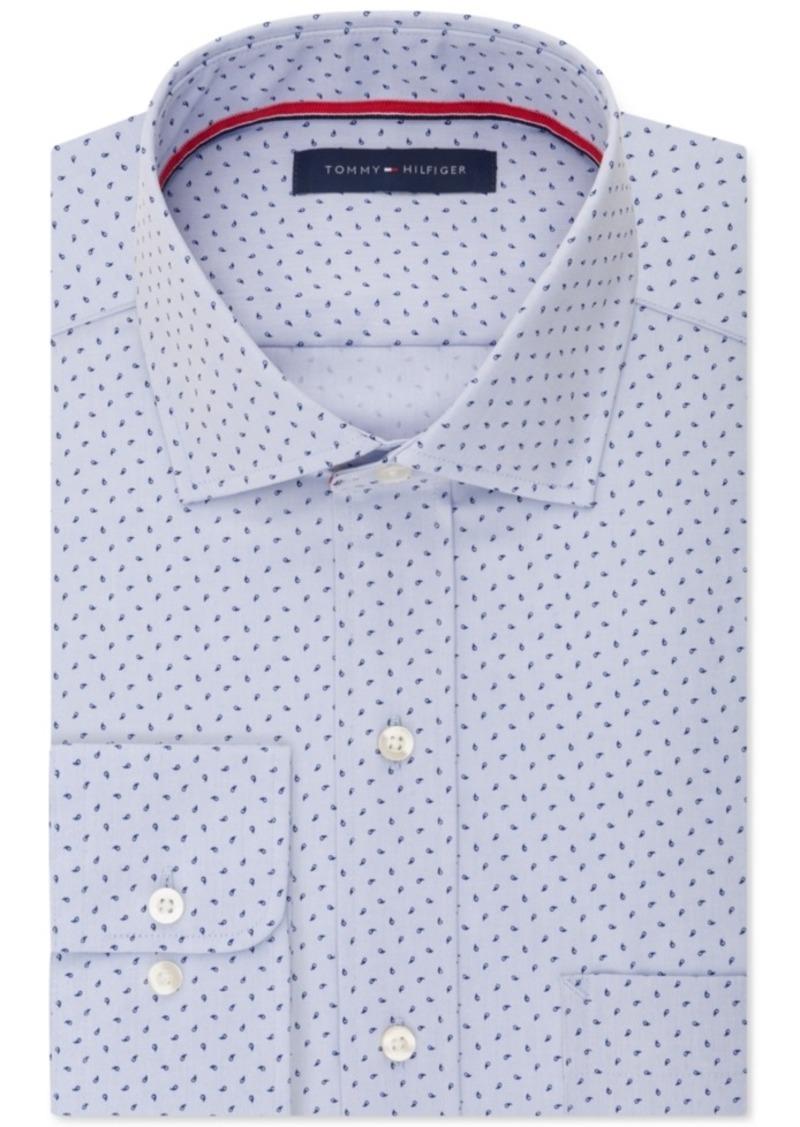 Tommy Hilfiger Men's Classic-Fit Non-Iron Light Blue Teardrop Print Dress Shirt