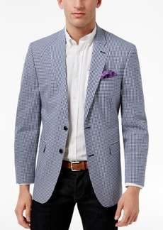 Tommy Hilfiger Men's Classic-Fit White and Blue Gingham Stretch Performance Sport Coat