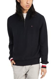 Tommy Hilfiger Men's Clifton Quater Zip Logo Sweater