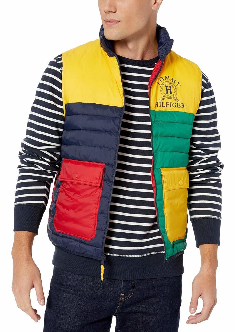Tommy Hilfiger Men's Colorblock Puffer Vest Navy Blazer/Multi