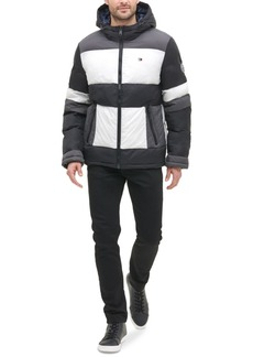 Tommy Hilfiger Men's Colorblocked Hooded Puffer Coat, Created for Macy's