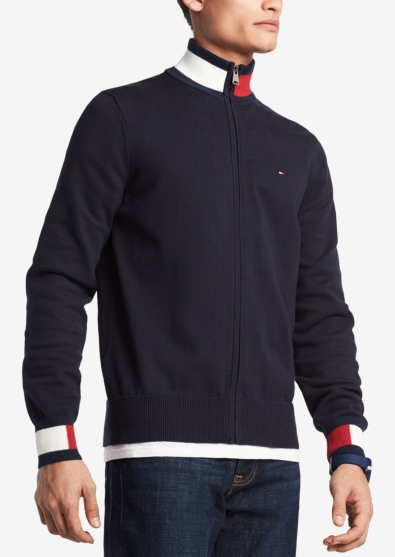 d0f0c3e17 Tommy Hilfiger Tommy Hilfiger Men s Complex Front-Zip Sweater ...