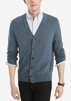 Tommy Hilfiger Men's Cotton Cardigan Sweater Captains Blue Eclipse Heather