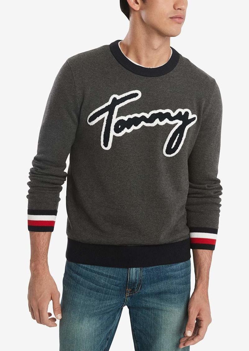 Tommy Hilfiger Men's Cotton Crew Neck Script Sweater Charcoal Heather/Multi