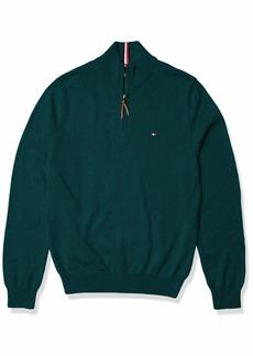 Tommy Hilfiger Men's Cotton Quarter Zip Sweater B6837 Botanical Garden HTR MD