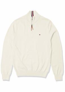 Tommy Hilfiger Men's Cotton Quarter Zip Sweater Snow White HTR B2561 XL