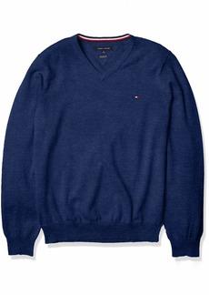 Tommy Hilfiger Men's Cotton V Neck Sweater ES13040D MID Denim Heather XL