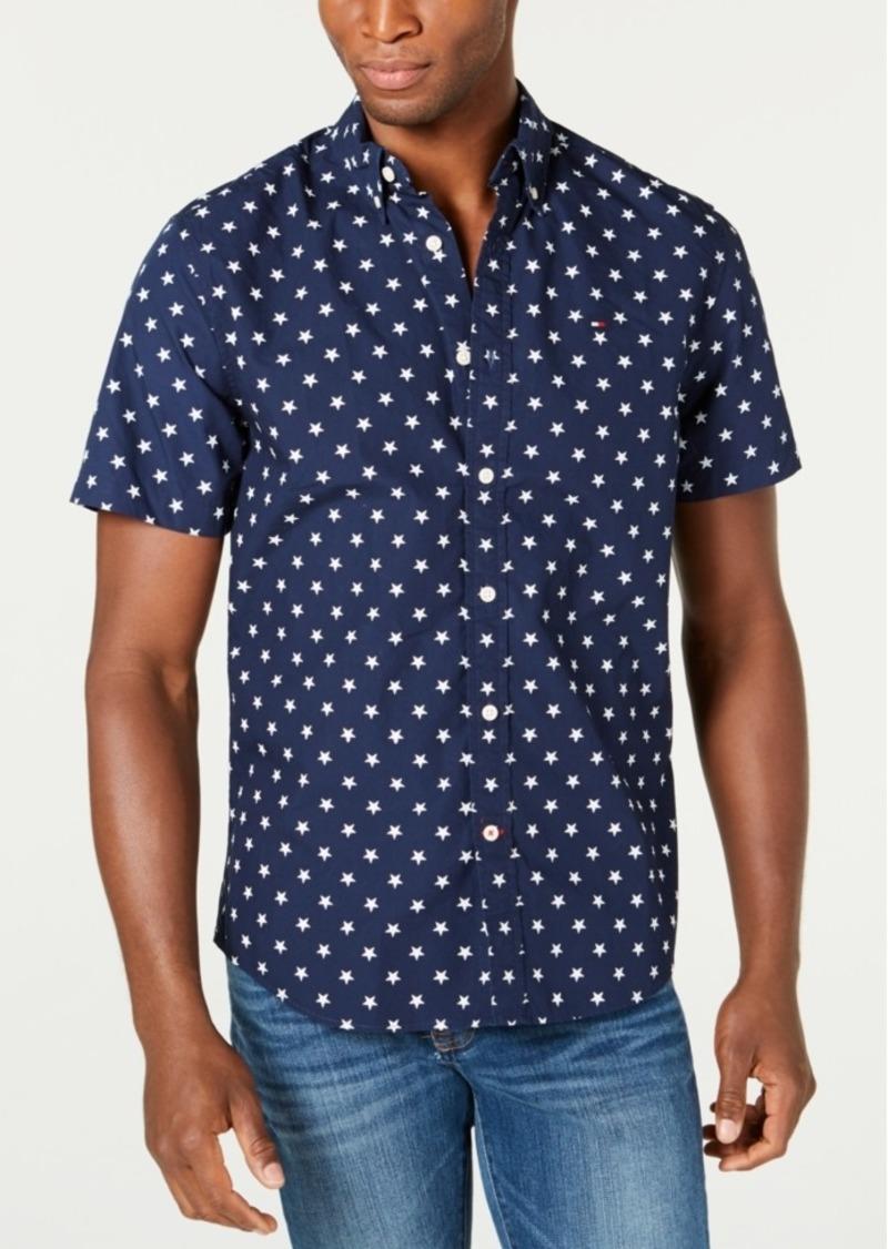 Tommy Hilfiger Men's Custom-Fit Abbott Star Print Short Sleeve Button-Down Shirt