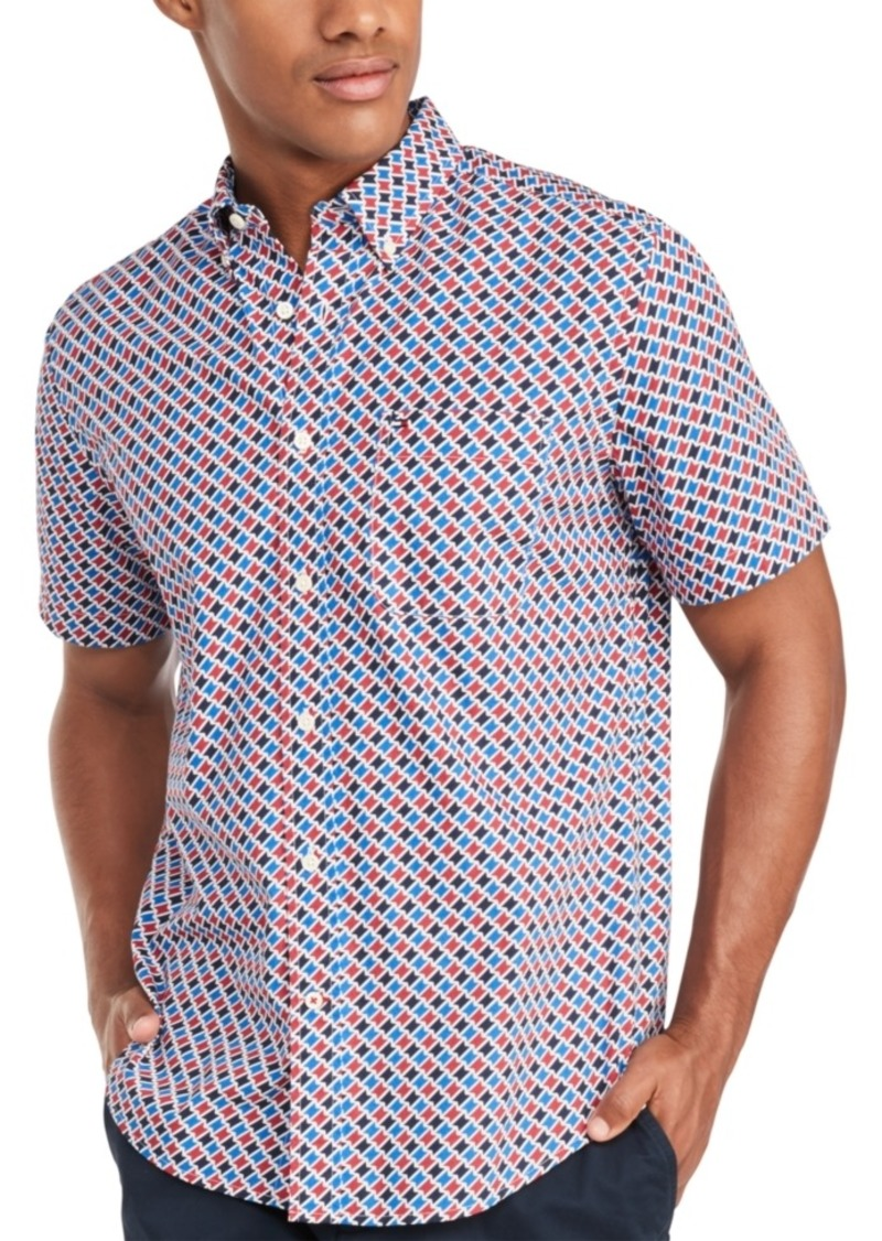 Tommy Hilfiger Men's Custom-Fit Louis Geometric Print Short Sleeve Shirt, Created for Macy's