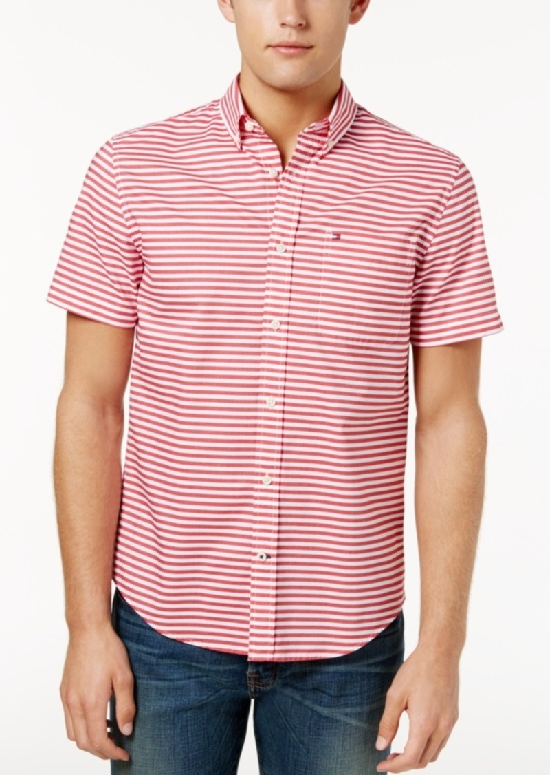2bfa762e Tommy Hilfiger Men's Custom-Fit Melville Horizontal Stripe Shirt, Created  for Macy's