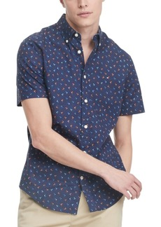 Tommy Hilfiger Men's Custom-Fit Palm Tree Short Sleeve Shirt