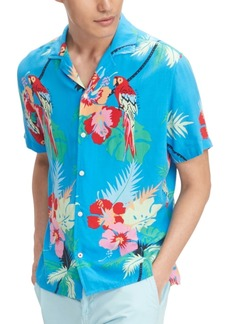 Tommy Hilfiger Men's Custom-Fit Tropical Parrot Print Short Sleeve Shirt