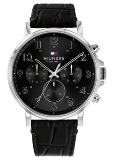 Tommy Hilfiger Men's Black Leather Strap Watch 44mm Created For Macy's