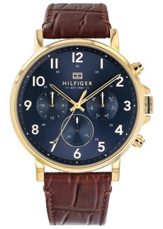 Tommy Hilfiger Men's Brown Leather Strap Watch 44mm Created For Macy's.